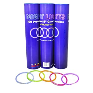 "100 8"" Night Lights Brand Premium Glow Stick Bracelets Plus 10 Free-110 Bracelets Total!"