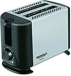 Maharaja Whiteline Excelo Pop Up 600-Watt Pop Up Toaster (Metallic Black and Silver)