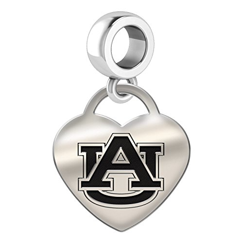 Auburn Tigers Heart Dangle Charm Fits All European Style Bead Charm Bracelets