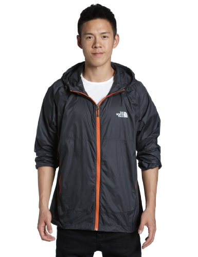 The North Face Mens Flyweight Hoodie - Asphalt Grey and Monarch Orange Extra Large