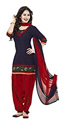 varsha Women's Unstitched Dress Material (Red and Blue)