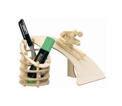 HOSdog 3D Puzzle Holzhandwerk DIY Montage Baumaschinen Modell Skifahren Pinselbehälter Puzzle mit Handbuch