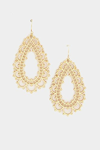 Glitz Finery Floral Tear Drop Dangle Earring (Matted Gold)