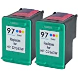 Generic Remanufactured Ink Cartridges Replacement for HP 97 (2xColor, 2-Pack)