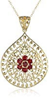 Yellow Gold Plated Sterling Silver Garnet Flower Pendant 18