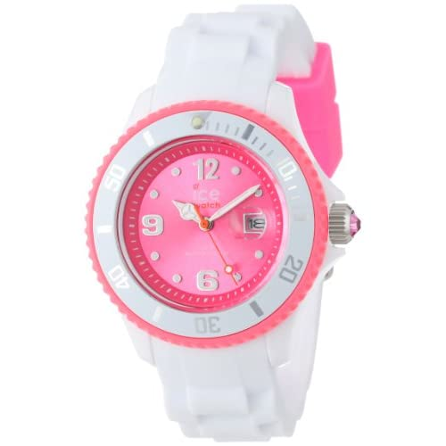 Ice-Watch Women's Quartz Watch with Pink Dial Analogue Display and White Silicone Strap SI.WP.S.S.12