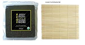 Kazu ® 100% Organic Premium Sushi Nori Seaweed, 50 sheets (4.9 oz) with FREE 9x9 bamboo mat