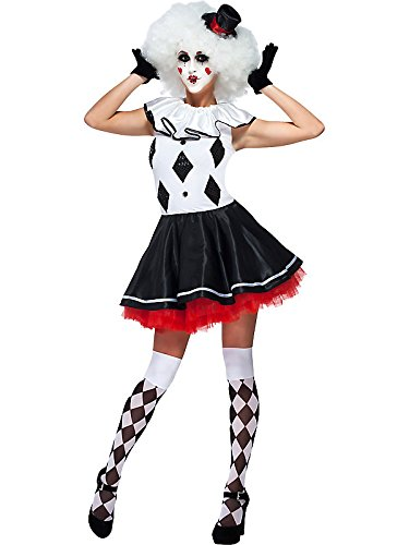 Harlequin Pantomime Clown Womens Sexy Jester Harley Mime Costume