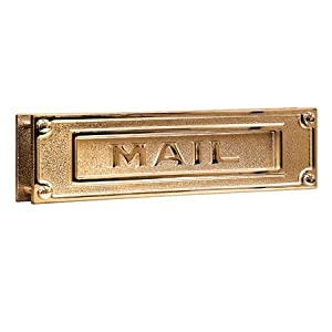 Heavy Duty Brass Traditional Mail Slot In Polished Brass. Door Mail Slot.