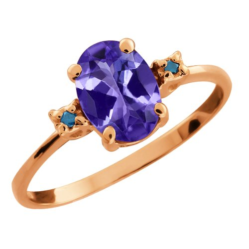 1.56 Ct Blue Oval Tanzanite and Blue Diamond 14k Rose Gold Ring