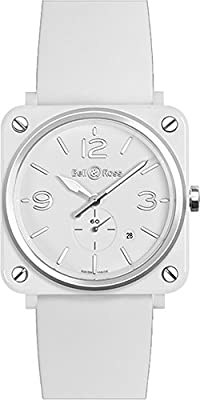 Bell & Ross Women's BRS-WH-CERAMIC Aviation White Ceramic Small Seconds Dial Watch Watch