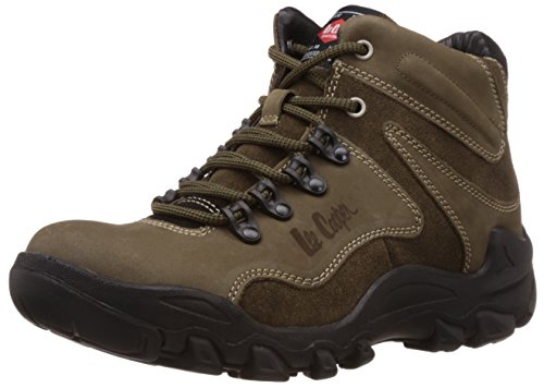 Lee Cooper Men's Olive Leather Trekking and Hiking Boots - 6 UK