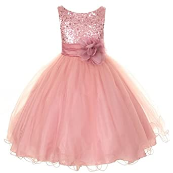Kids Dream Rose Sequin Double Mesh Flower Girl Dress Little Girl 2T-14