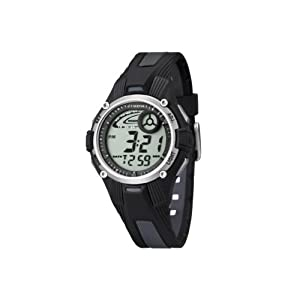 Calypso - K5558/6 - Montre Garçon - Quartz - Digitale - Eclairage-Chronomètre-Temps intermédiaires-Alarme - Bracelet Caoutchouc noir