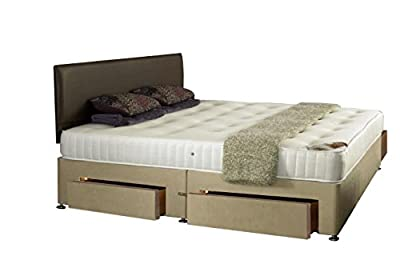 Interiors 2 Suit U King Size Bonnell Memory Foam Sprung Hand Tufted Divan Set with 4 Drawers and Cooltouch Cotton, 5 ft, Off-White