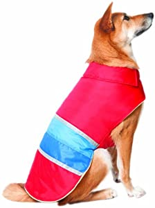 Fashion Pet Lookin Good Reversible Striped Blanket Coat for Dogs, Medium, Red