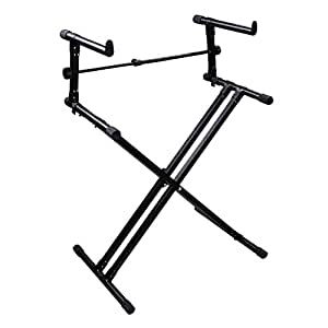 professional width adjustable folding black piano keyboard stand x style double deck. Black Bedroom Furniture Sets. Home Design Ideas