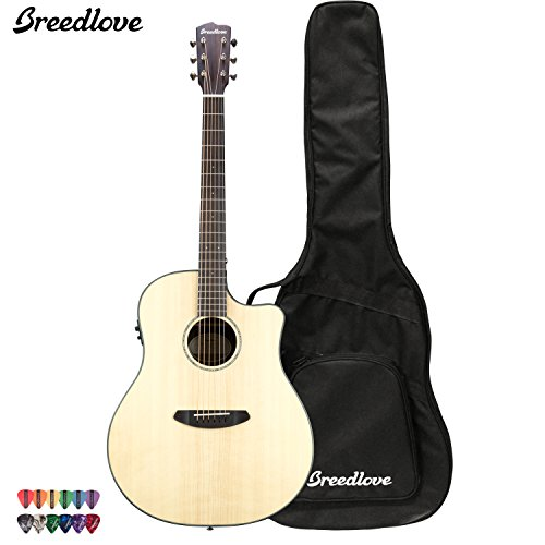 Breedlove Pursuit Dreadnought Ebony Acoustic Electric Guitar With Chromacast 12 Pick Sampler And Breedlove Gig Bag