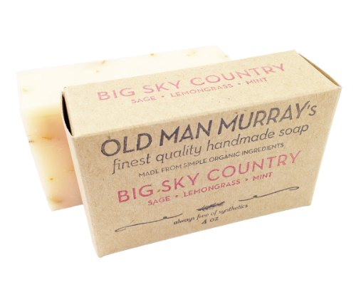 handmade soap Big Sky Country All-Natural Soap (2 Bars) - Sage, Lemongrass, Mint - Handmade w/ Simple Organic Ingredients - No Parabens, Alcohol, Petroleum, Artificial Dyes or Fragrances