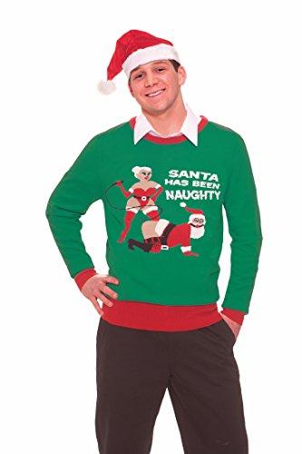 Forum Novelties Women's Naughty Santa Novelty Christmas Sweater, Kelly Green/Red, Medium