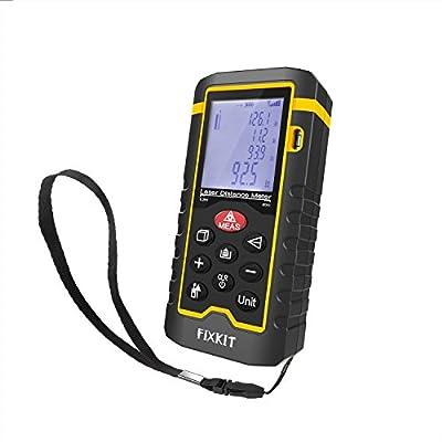 FIXKIT Laser Distance Measurer, Rangefinder Meter Digital Tape Diastimeter Large LCD with Backlight 0.05m to 60m (2 inches to 196Feet)