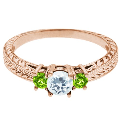 0.57 Ct Round Sky Blue Topaz Green Peridot 18K Rose Gold 3-Stone Ring