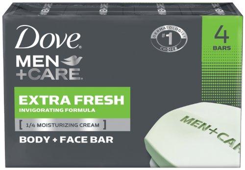 Dove Men + Care Body and Face Bar Extra Fresh, 4 oz, 4 Count