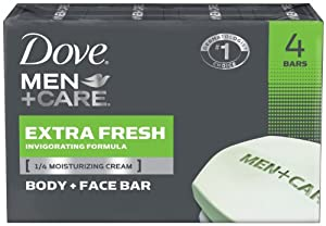 Dove Men + Care Body and Face Bar Extra Fresh, 4 Ounce, 4 Count