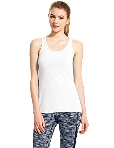 Baleaf Women's Yoga Fitness Workout Soft Racerback Tank Top White Size M