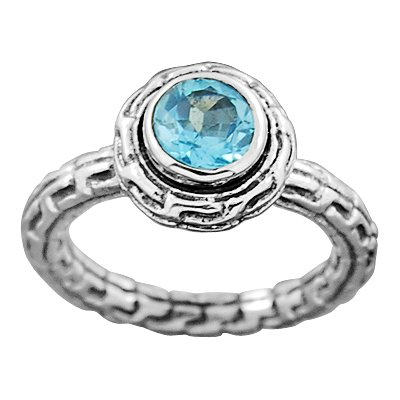 925 Sterling Silver Natural Blue Topaz Gemstone Solitaire Engagement Ring Jewelry Size 6