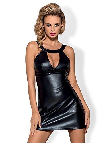 Obsessive-Babydoll verführerisches Set in simpatico motivo Wet Look vestito e perizoma in una bella confezione regalo nero S/M