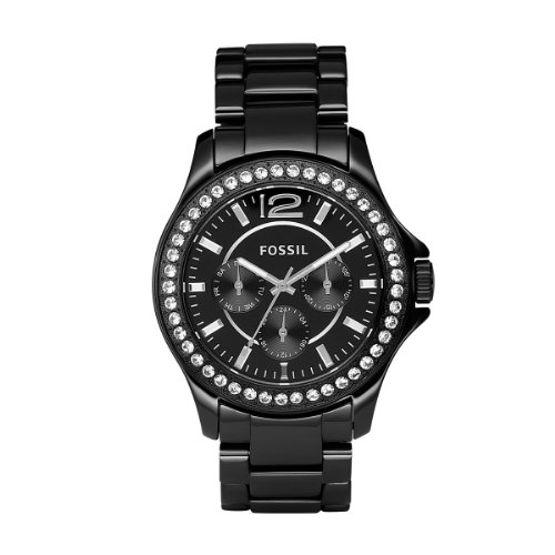 Fossil Ladies Black Ceramic Chronograph Watch - CE1011