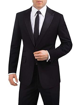 Veste de smoking haute couture, Noir, Revers en Pointe, Slim, 1 Bouton- 44 Long