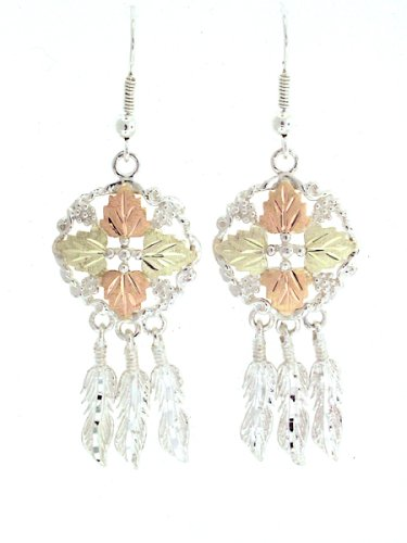Beautiful! Sterling-silver Yellow-gold Black Hills Gold Dream Catcher dangle-earrings