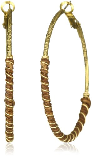 T.R.U. Jewelry Wrapped Walnut Brown Brass Hoop Earrings