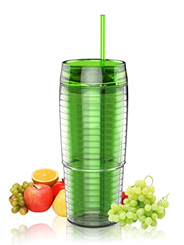 SH&H 20oz Cold Drink Tumbler with Straw, Green