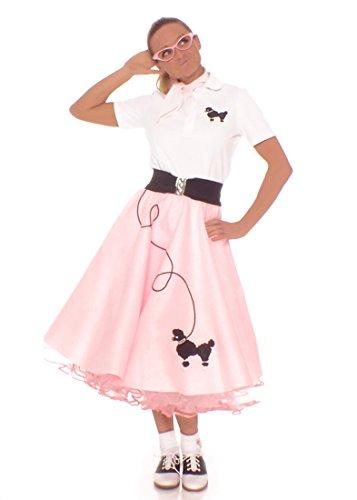 [Hip Hop 50s Shop Adult 7 Piece Poodle Skirt Costume Set Light Pink Large] (Pink Poodle Skirt 50s Adult Costumes)