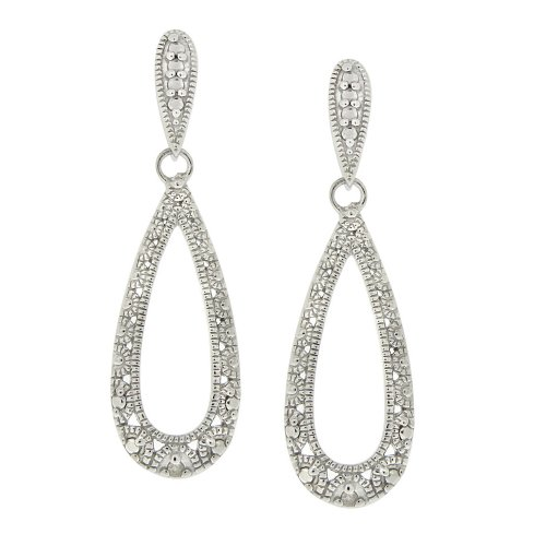 Sterling Silver Diamond Accent Elongated Teardrop Post Earrings