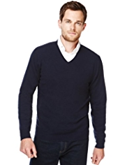 XS Blue Harbour Luxury Wool Rich V-Neck Jumper with Cashmere