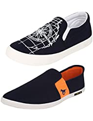 Super COMBO Pack Of 2 Pair Men/Boys Black Casual Shoes Loafers & Moccasins