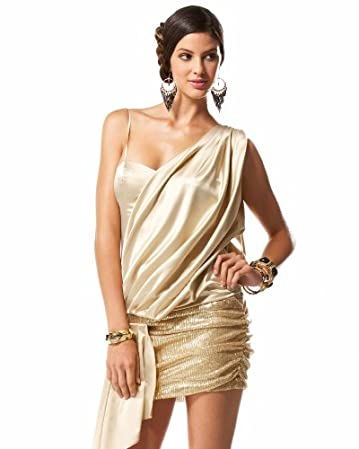 One Shoulder Sequin Goddess Dress from bebe.com