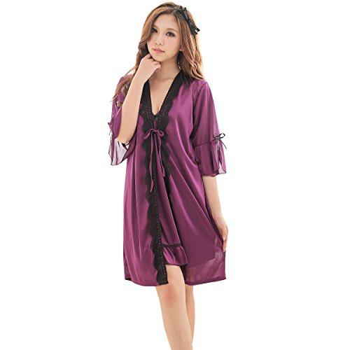 JXS Women's Noble Purple Silk Skirt Robe Set Babydoll Nightwear 2036