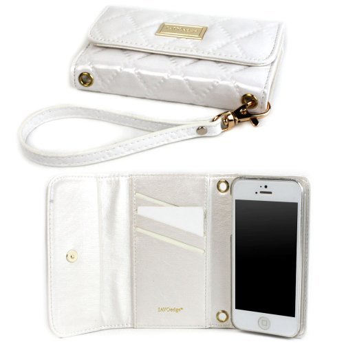 Best Price JAVOedge Vintage Quilted Clutch Wallet Case with Wristlet for the Apple iPhone 5s, iPhone 5 (White)