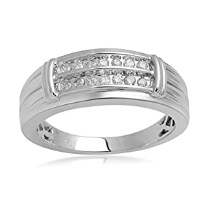 Jewelili 0.25 cttw White Diamond Ring In Sterling Silver & Yellow Gold Plated, US9