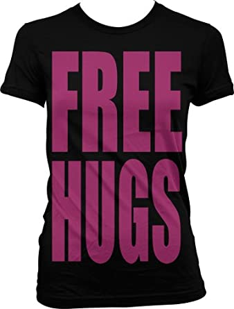 Free Hugs Neon Design Juniors T-shirt, Big and Bold Funny Statements Juniors Shirt, Small, Black