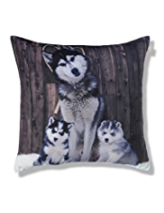 Large Huskies Print Cushion