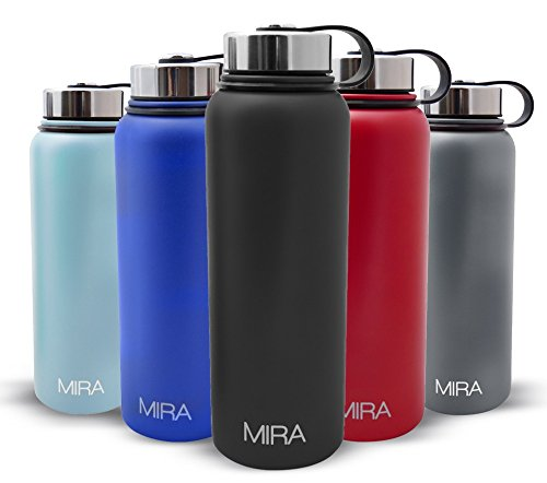 40 Oz (1200 ml) Vacuum Insulated Powder Coated Water Bottle | Double Walled Stainless Steel Travel Bottle Keeps Your Drink Hot & Cold | Black (Water Filter Bottle Metal compare prices)