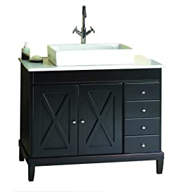 OVE Decors Aspen-VB Vanity with Marble Countertop and Rectangular Overcounter Ceramic Basin, 40-Inch Wide, Espresso