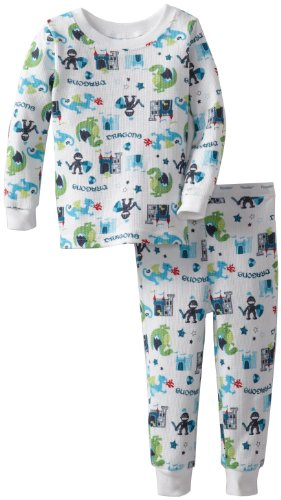 Vitamins Baby Baby-Boys Infant Dragons And Knights Thermal Pajama Set, White, 12 Months