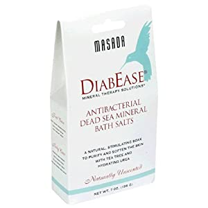 Masada DiabEase Antibacterial Dea Sea Mineral Bath Salts, Naturally Unscented, 7 oz (198 g) (Pack of 12)